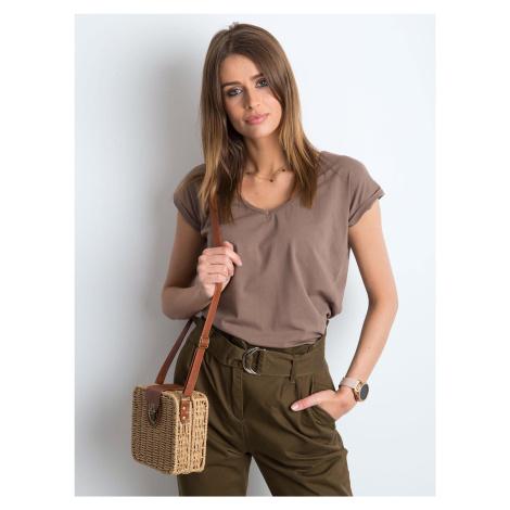 Kávové dámske tričko s výstřihem do V FPrice