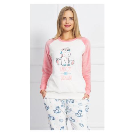 Dámské pyžamo dlouhé Malý jednorožec, XL, smetanová Vienetta Secret