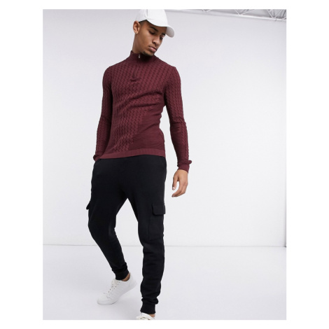 ASOS DESIGN muscle fit cable half zip jumper in burgundy-Red