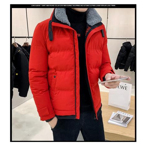 Pánská zimní bunda s kožešinovou podšívkou a límcem teplá parka