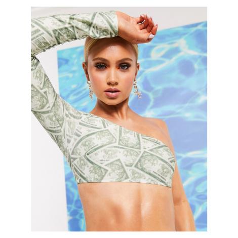 ASOS DESIGN one shoulder bikini top in dollar print-Multi
