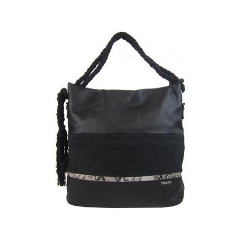 Tessra Velká černá dámská kabelka s lanovými uchy 4543-BB Černá