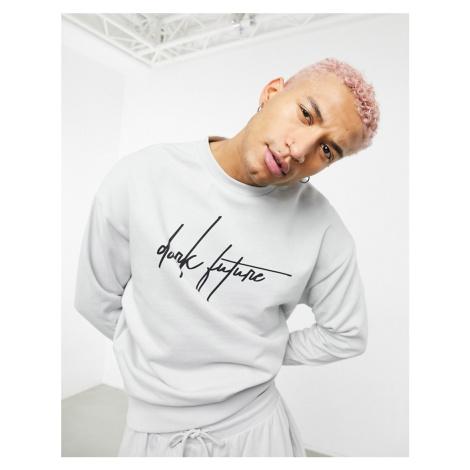 ASOS Dark Future co-ord oversized sweatshirt in grey with logo print