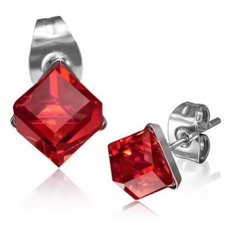 Lesklé ocelové náušnice - kostka z červeného zirkonu Šperky eshop