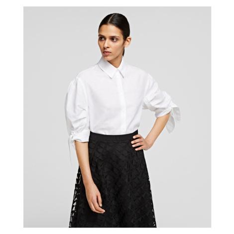 Košile Karl Lagerfeld Linen Shirt W/ Bows - Bílá