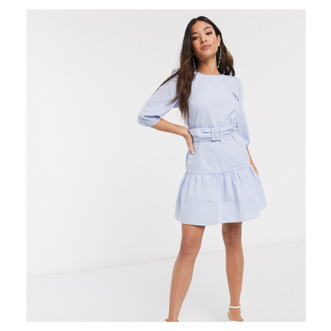 New Look Petite belted poplin volume sleeve mini dress in light blue