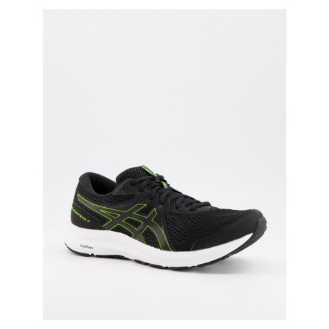 Asics Running Gel Contend 7 trainers in black white and yellow