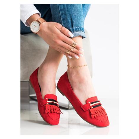 Exkluzívní dámské červené mokasíny bez podpatku Anesia Paris
