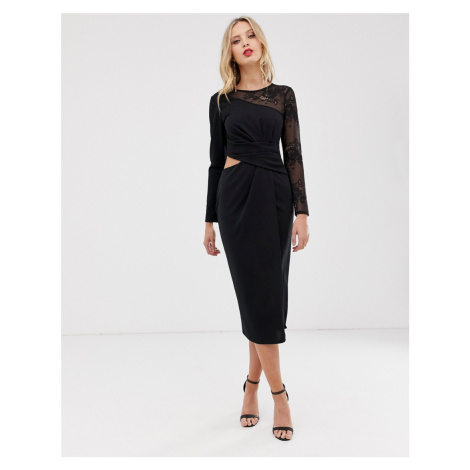 ASOS DESIGN midi pencil dress with cut out and lace insert-Black