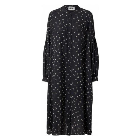 JUST FEMALE Košilové šaty 'Hydra' černá / bílá / khaki