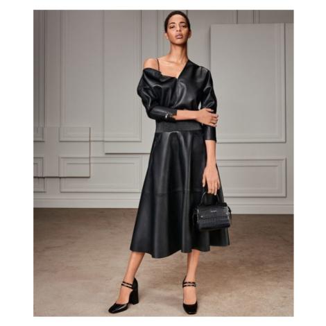 Šaty Karl Lagerfeld Faux Leather Dress - Černá