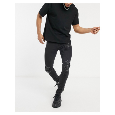 Sixth June skinny jeans with biker knee inserts in black