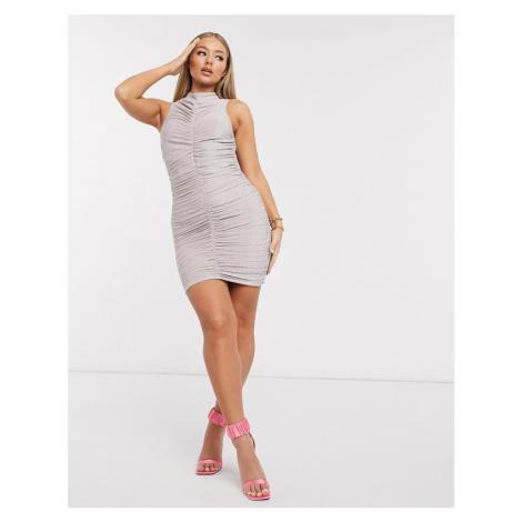 AX Paris high neck mini dress in metallic pink