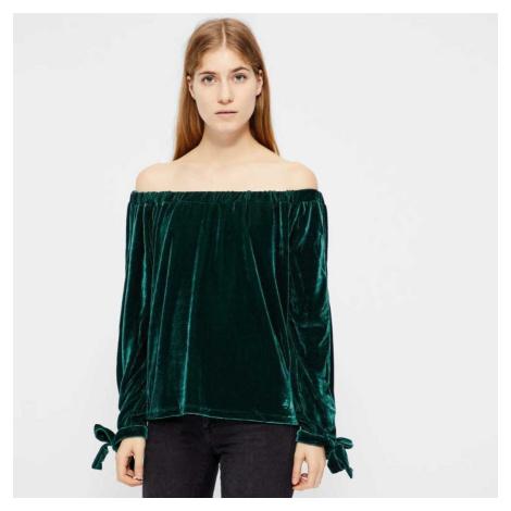 Tmavě zelený top s odhalenými rameny – Vikansel Vila