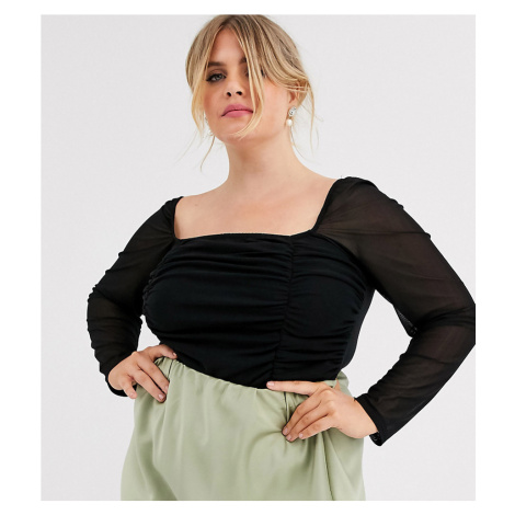 Outrageous Fortune Plus square neck body with sheer sleeve in black