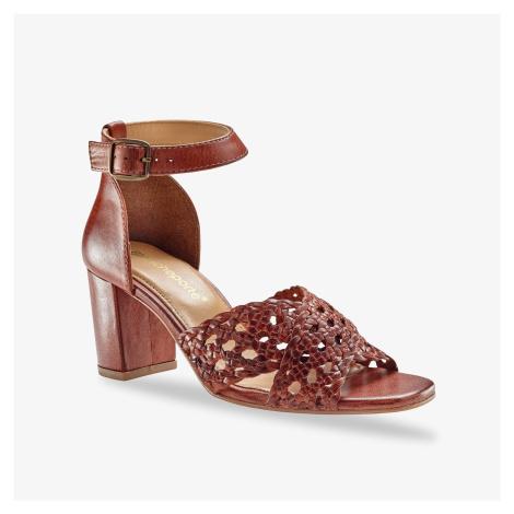 Blancheporte Páskové sandály na podpatku kaštanová