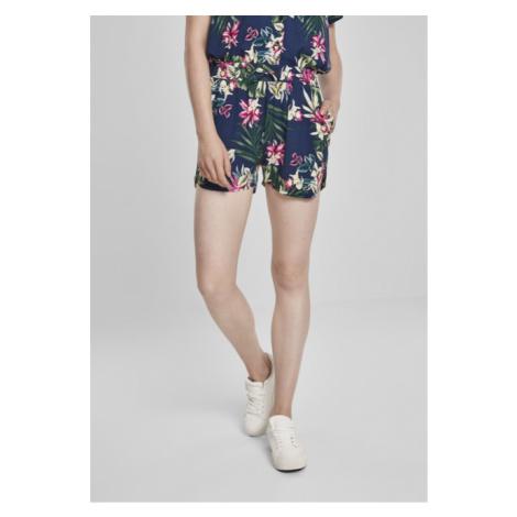 Urban Classics Ladies AOP Viscose Resort Shorts BLUE FLOWER