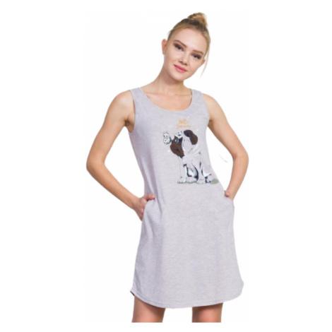 Dámské domácí šaty na ramínka Vinetta Secret Buldoček   béžová Vienetta Secret