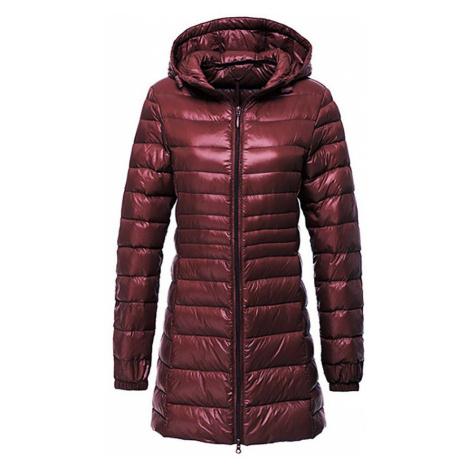 Dlouhá červená bunda modrá zimní s kachním peřím a kapucí