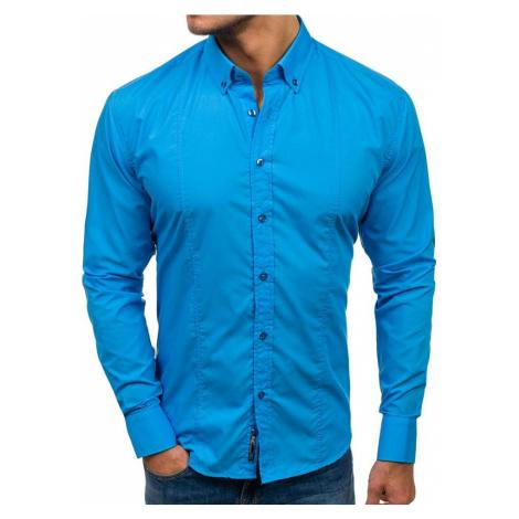 Modrá pánská elegantní košile s dlouhým rukávem Bolf 4705-1