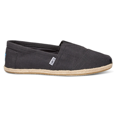 Black Linen Rope Men's Alpargatas Toms