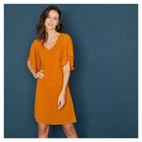 Blancheporte Krátké jednobarevné šaty s motýlími rukávy a korálky okrová
