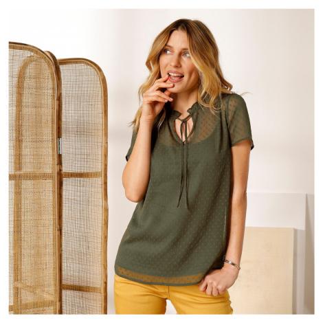 Blancheporte Jednobarevná košilová halenka bronzová