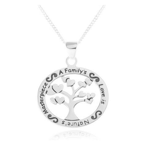 Náhrdelník ze stříbra 925, oválný přívěsek - strom se srdíčky, nápis Šperky eshop