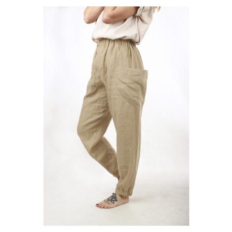 Široké lněné kalhoty s velkými kapsami excellent quality