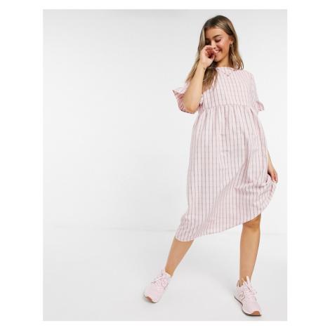 Lola May long smock dress in pink check