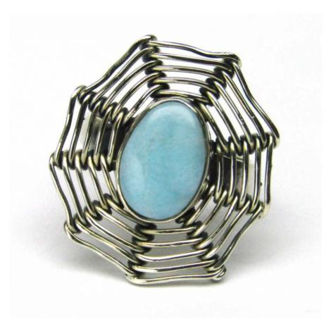 AutorskeSperky.com - Stříbrný prsten s larimarem - S4513