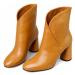 Dámské kožené boty asymetrického střihu na sloupkovém podpatku