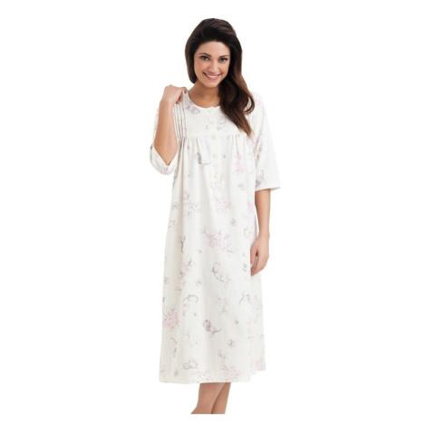 Dlouhá bavlněná noční košile s knoflíčky Lea ecru Dorota