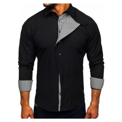 Černá pánská elegantní košile s dlouhým rukávem Bolf  5746-A