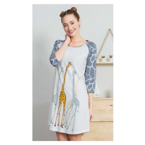 Dámská noční košile s tříčtvrtečním rukávem Žirafy, S, smetanová Vienetta Secret