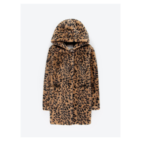 GATE Kabát z umělé kožešiny s leopardím potiskem a kapucí
