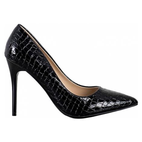 černé elegantní lodičky s imitací krokodýlí kůže BASIC