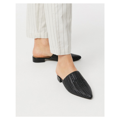 ASOS DESIGN Meditate woven pointed mules in black
