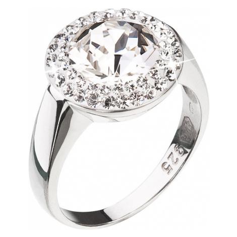 Stříbrný prsten s krystaly Swarovski kulatý bílý 35026.1 Victum