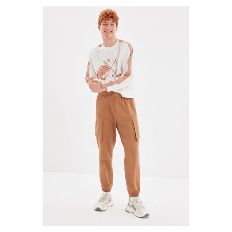 Trendyol Camel Men Jogger Fit Detailed Gabardine Trousers