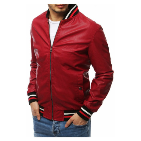 Red men's transitional leather jacket TX3281 DStreet