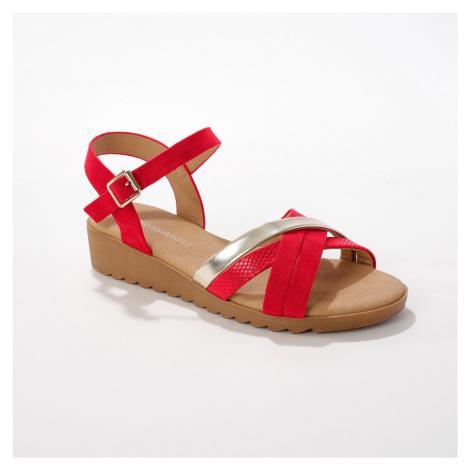 Blancheporte Páskové sandály, červené/ zlaté červená/ zlatá