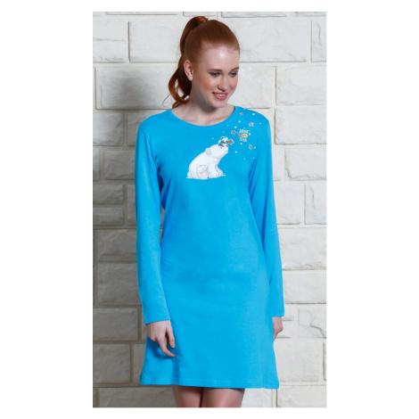 Dámská noční košile s dlouhým rukávem Méďa na saních Vienetta Secret