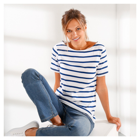 Blancheporte Pruhované tričko bílá/nám.modrá