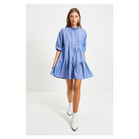 Trendyol Blue Wide Cut Ruffle Dress
