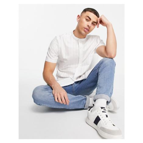 Topman premium short sleeve stripe oxford shirt in white