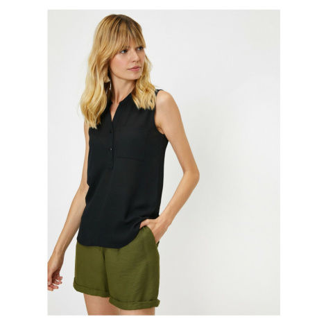 Koton Women's Black V Neck Sleeveless Pocket Detailed Undershirt