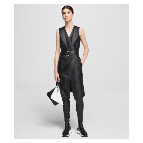 Šaty Karl Lagerfeld Leather Wrap Dress - Černá