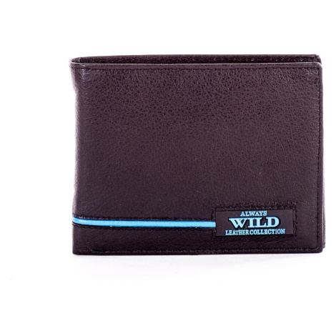 Black leather wallet with blue inserts Fashionhunters