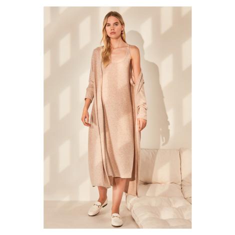 Trendyol Beige Soft Knitted 2-Piece Suit